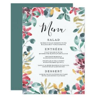 Elegant Blossoms | Floral Frame Wedding Menu Card