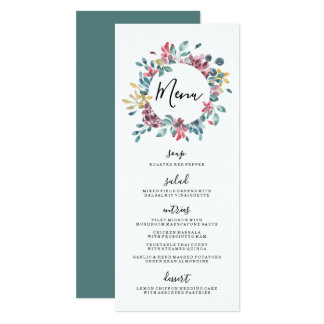 Elegant Blossoms | Floral Wreath Wedding Menu Card