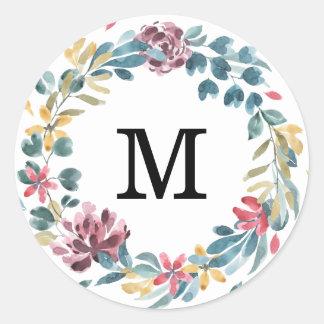 Elegant Blossoms | Monogram Wedding Stickers