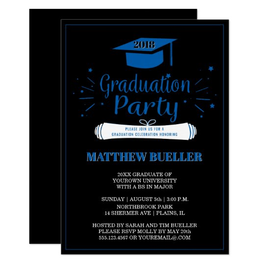 Elegant Blue 2018 Grad Cap Graduation Party Card