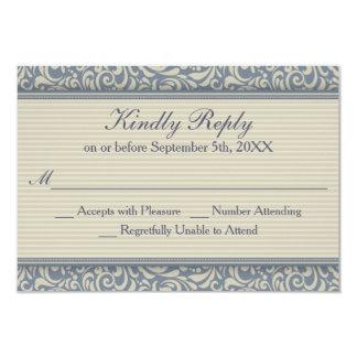 Elegant Blue and Beige Baroque Wedding RSVP Card