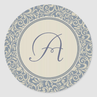 Elegant Blue and Beige Damask with Monogram Classic Round Sticker