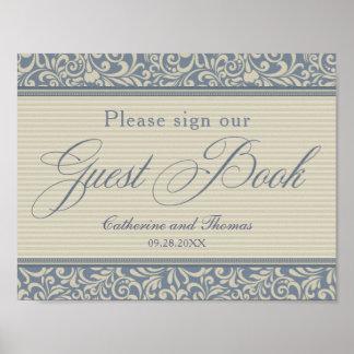 Elegant Blue and Beige Guest Book Signage