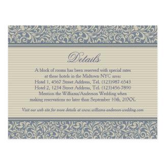 Elegant Blue and Beige Pattern Wedding Details Postcard