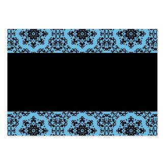 Elegant blue and black damask blank business cards