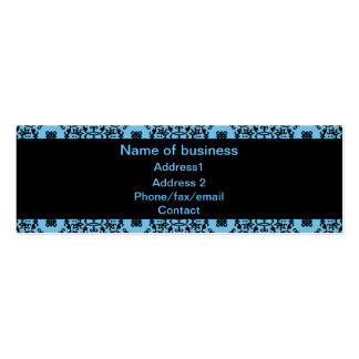 Elegant blue and black damask Double-Sided mini business cards (Pack of 20)