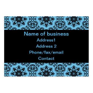 Elegant blue and black damask business card