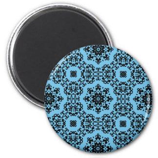 Elegant blue and black damask decor 6 cm round magnet