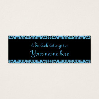 Elegant blue and black damask mini book marks mini business card