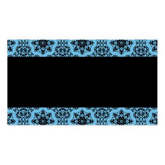 Elegant blue and black damask pack of standard business cards