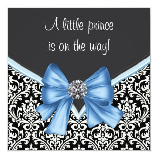 Elegant Blue and Black Damask Prince Baby Shower 13 Cm X 13 Cm Square Invitation Card