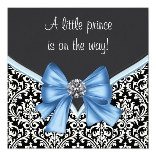 Elegant Blue and Black Damask Prince Baby Shower Personalized Invitations