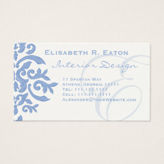 Elegant Blue and Cream Damask Letter E