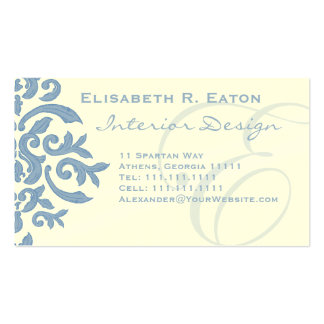Elegant Blue and Cream Damask Letter E Pack Of Standard Business Cards