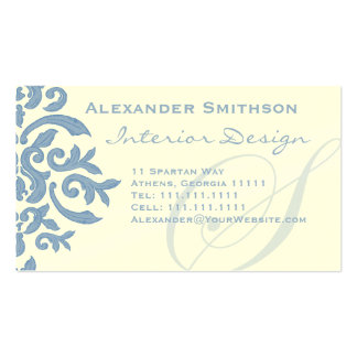 Elegant Blue and Cream Damask Letter S Pack Of Standard Business Cards