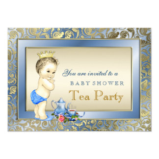Elegant Blue and Gold Boys Tea Party Baby Shower 11 Cm X 16 Cm Invitation Card