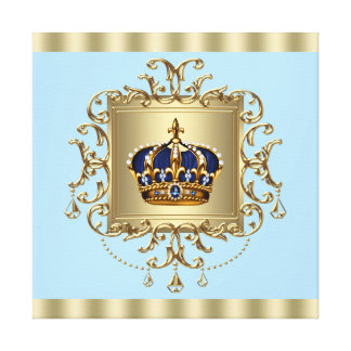 Elegant Blue and Gold Crown Canvas Wall Art Print Gallery Wrap Canvas