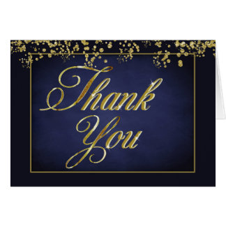 Elegant Blue and Gold Glitter Wedding Thank You Card