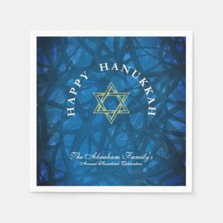 Elegant Blue and Gold Hanukkah Paper Napkin