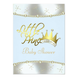 "Elegant Blue and Gold Little Prince Baby Shower 5.5"" X 7.5"" Invitation Card"