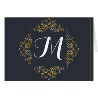 Elegant Blue and Gold Monogram | Enter your own Card