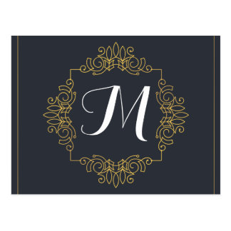 Elegant Blue and Gold Monogram | Enter your own Postcard