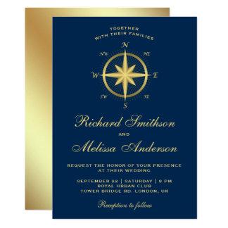 Elegant Blue and Gold Nautical Compass Wedding Card