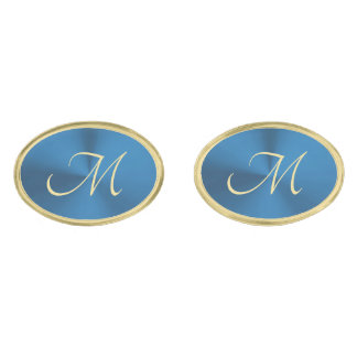 Elegant Blue and Gold Oval Monogram Cufflinks Gold Finish Cufflinks
