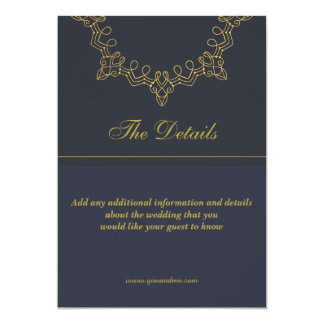 Elegant blue and gold wedding details card
