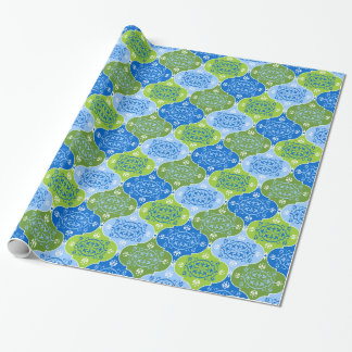 Elegant Blue and Green Damask Wrapping Paper