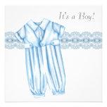 Elegant Blue and Grey Baby Boy Shower Custom Invites