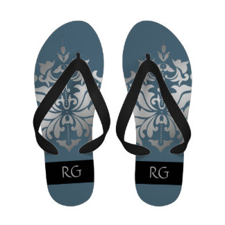 Elegant Blue and Grey Damask Monogrammed Sandals
