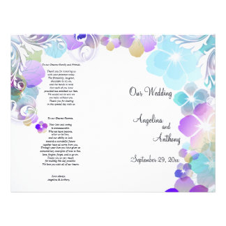 Elegant Blue And Multi Color Pansies With Swirls 21.5 Cm X 28 Cm Flyer