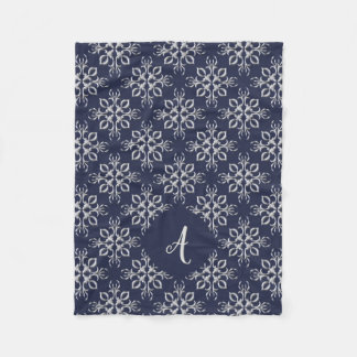 Elegant Blue and Silver Monogram Fleece Blanket