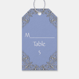 Elegant Blue and  silver scroll wedding Gift Tags