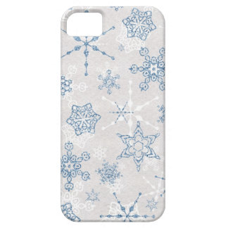 Elegant Blue and Silver Winter Snowflake Case For The iPhone 5