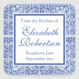 Elegant Blue and White French Lace Square Sticker