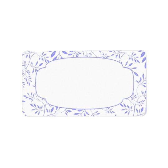 Elegant Blue and White Leaves Label Address Label