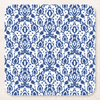 Elegant Blue and White Moroccan Style Damask Square Paper Coaster