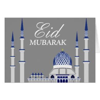 Elegant Blue and White Mosque Eid Mubarak Card