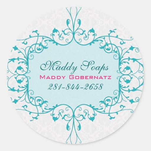 Elegant Blue And White Vintage Lace Frame Round Sticker
