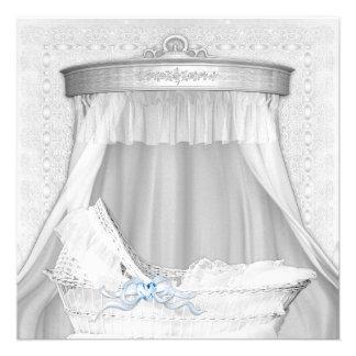 Elegant Blue Bassinet Baby Boy Shower Invitations