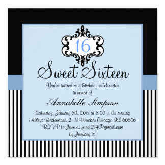 Elegant Blue Black Chic Sweet 16 Invite
