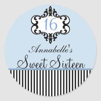 Elegant Blue & Black Chic Sweet 16 Sticker