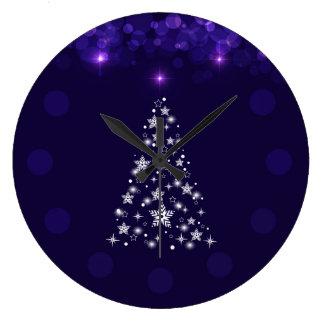 Elegant Blue Bokeh Christmas Tree Wall Clock