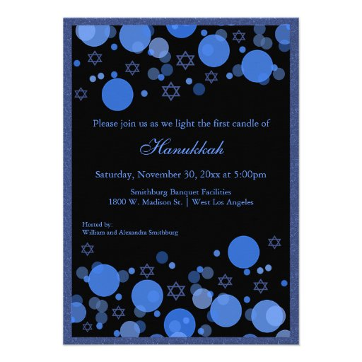 Elegant Blue Bokeh Lights Hanukkah Celebration Personalized Invitations