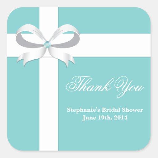 Elegant Blue Bridal Shower Favor Tag Sticker