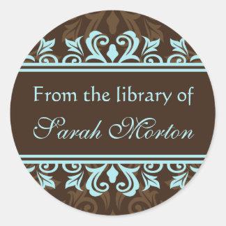 Elegant blue/brown damask bookplates/book labels