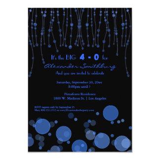"Elegant Blue Chains Birthday Party Invite 4.5"" X 6.25"" Invitation Card"