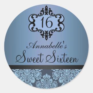 Elegant Blue Chic Damask Sweet 16 Sticker